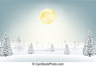 christmas winter snow forest with moon background