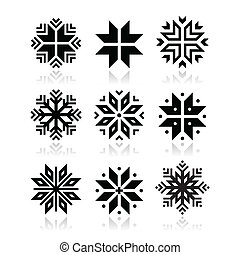 Christmas, winter snowflakes icons