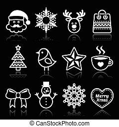 Christmas, winter white icons set