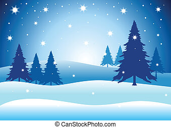 Christmas Wintertime - Vector illustration of pine trees on...