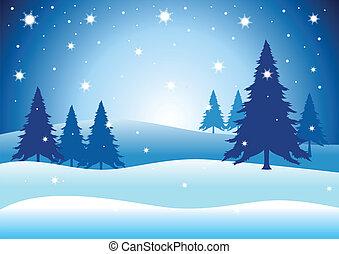 Vector illustration of pine trees on snowy hills