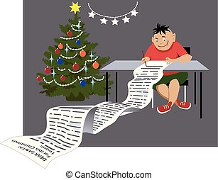 Christmas wish list is out of control - Greedy child writing...