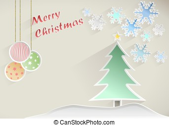 Christmas wish with tree, star and snowflakes on beige background
