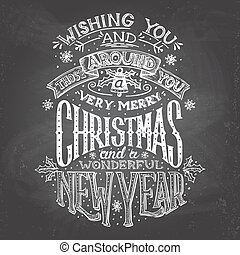 Christmas wishes hand-lettering with chalk - Vintage...