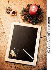 Christmas wishlist - copy space for adding text on slate
