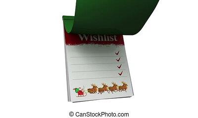Christmas wishlist with santa