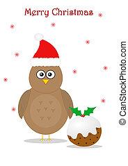 Christmas with bird and pudding