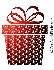 Christmas with gift box on red