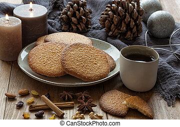 Christmas with hot tea