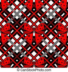 Christmas with red ribbon bow and tartan background. eps 10