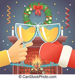 Christmas with Santa Claus Celebration Success and Prosperity Symbol Hands Holds a Glasses  Drink Icon on Stylish Fireplace Background Flat Design Vector Illustration