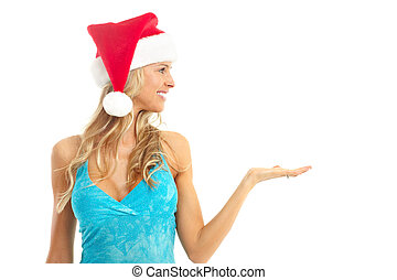 Christmas woman - Beautiful smile woman in a Santa hat....