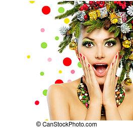 Christmas Woman. Christmas Tree Holiday Hairstyle and Make...