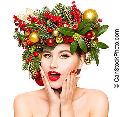 Christmas Woman Face Beauty Makeup, Wreath Hairstyle. Xmas Fashion Model Portrait, Beautiful Girl on white background