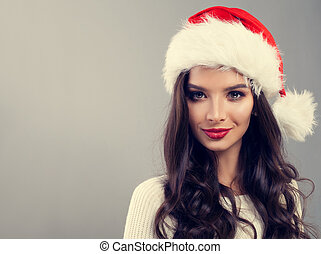 Christmas Woman in Santa Hat Smiling on Banner Background