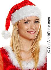 christmas woman, portrait - portrait of a woman as santa...