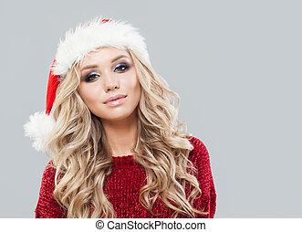 Christmas woman portrait. Winter fashion girl