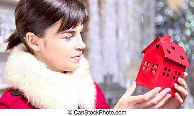 Christmas woman shopping home decoration