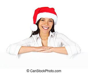 Christmas woman sign