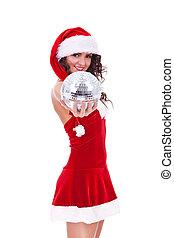 christmas woman with a disco ball