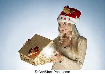 christmas woman with gift box