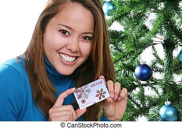 Christmas Woman with Gift Card
