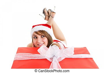 christmas woman with gift