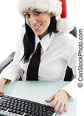 christmas woman with keyboard