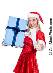 Christmas woman with present thumbs up