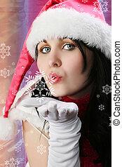 Christmas Woman with Snowflake