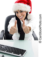 christmas woman with thumbs up