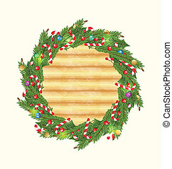 Christmas wood background with holiday decoration