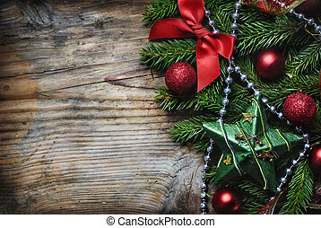 Christmas Wooden Background - Christmas decoration on wooden...