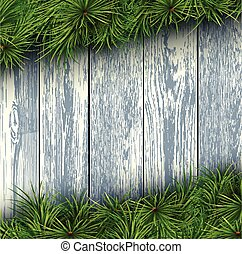 Christmas wooden background - Christmas background with fir...