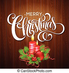 Christmas wooden background with burning candles. Vector illustration