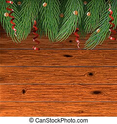 Christmas wooden background with fir branches.