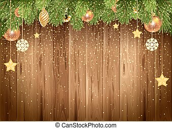 Christmas wooden background golden glitters and decorated Christmas fir tree. Vector stock illustration.