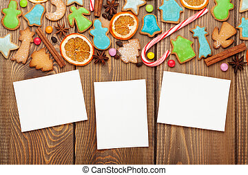 Christmas wooden background with photo frames