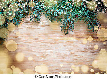 Christmas wooden background with pine