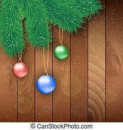 Christmas wooden background with red ball - Christmas card...
