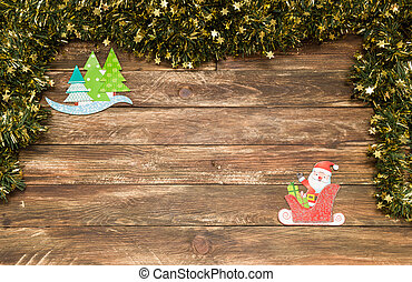 christmas wooden background with santa