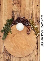 Christmas wooden board on brown wooden background