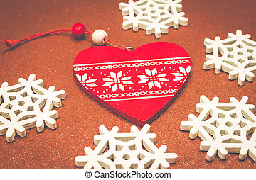 Christmas wooden ornaments toy with ribbon .
