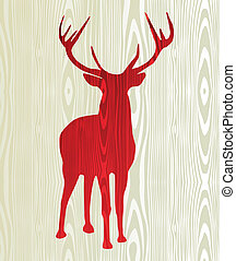 Christmas wooden reindeer silhouette - Christmas wood...