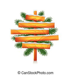 Christmas wooden sign from five planks isolated vector