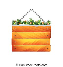 Christmas wooden sign on chain isolated vector