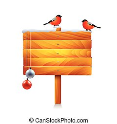 Christmas wooden sign with bullfinches isolated vector