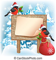 Christmas wooden signboard with bullfinches and gift bag