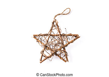 Christmas wooden star isolated on white background.