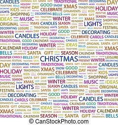 CHRISTMAS. Word cloud concept illustration. Wordcloud...